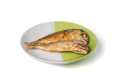 Fried fish on white and green plate Royalty Free Stock Photos