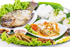 Fried fish whith salad from Thai food Stock Photography