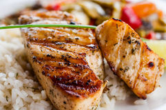 Fried Fish With Rice And Vegetables Royalty Free Stock Photos