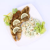 Fried Fish With Side Salad Stock Images
