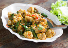 Fried fishball with basil and spicy herbs Royalty Free Stock Photography