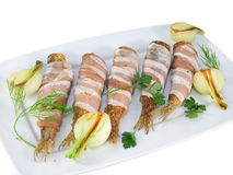 Fried fishes herrings on plate Royalty Free Stock Photo