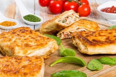 Fried flatbread Stuffed with chicken meat, Cucumber, coleslaw, t stock images