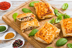 Fried flatbread wraps Stuffed with chicken meat and vegetable stock image
