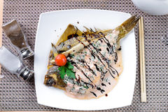 Fried flounder in Asian style Royalty Free Stock Images