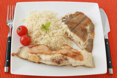 Fried flounder with boiled rice Royalty Free Stock Photos
