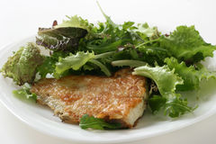 Fried flounder with lettuce Royalty Free Stock Images