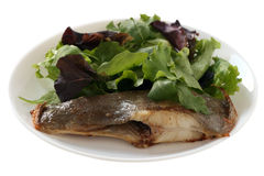 Fried flounder with salad Royalty Free Stock Image