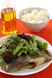 Fried flounder with salad Stock Photo