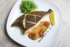 Fried flounder with zucchini, tomatoes and arugula. Close-up, selective focus stock images