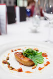 Fried foie gras with caramel and vegetables Royalty Free Stock Images