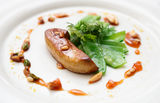 Fried foie gras with caramelized nuts Stock Photo