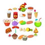 Fried food icons set, cartoon style. Fried food icons set. Cartoon set of 25 fried food vector icons for web isolated on white background Stock Photo