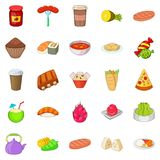 Fried food icons set, cartoon style. Fried food icons set. Cartoon set of 25 fried food vector icons for web isolated on white background Royalty Free Stock Photos