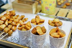 Fried food at Myeongdong open street market Seoul Stock Photography