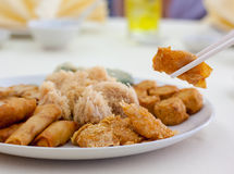 Fried food. Server before maindish Royalty Free Stock Image