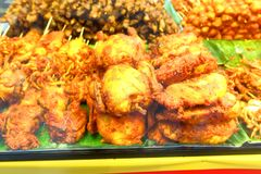 Fried food. Sold in the night market stall Stock Photos