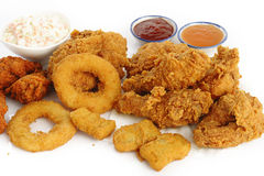 Fried food on white background Stock Images