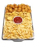 Fried foods. Baking tray filled with deep-fried foods: french fries, breaded fish nuggets, & golden brown hushpuppies, with a bowl of ketchup stock photo