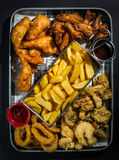 Fried foods platter Royalty Free Stock Photos