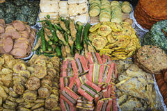 Fried Foods in Seoul Market Royalty Free Stock Images