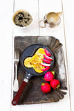 Fried fresh  eggs in fun form of man penis in a frying pan Royalty Free Stock Photo