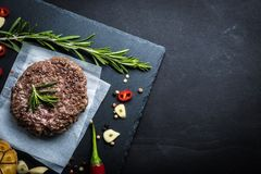 Fried Fresh Large Beef Burger Top View Royalty Free Stock Photo