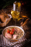 Fried Fricandeau with onion Royalty Free Stock Photos