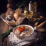 Fried Fricandeau with onion Stock Photo