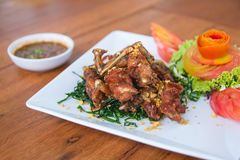 Fried Frog with Garlic. On white plate amd wood table with tomato and vegetables Stock Photo