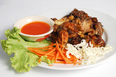 Fried Frog with Spicy  Thai food. Looks delicious Royalty Free Stock Image