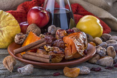 Fried fruit. Apple and pumpkin with cinnamon and wine Stock Image
