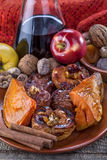 Fried fruit. Apple and pumpkin with cinnamon and wine Stock Images