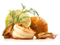Fried Gamba Shrimp com alho imagens de stock royalty free