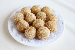 Fried Glutinous Rice Balls with Sesame.  Royalty Free Stock Photo