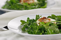 Fried Goat Cheese And Arugula Salad. Served with a white wine vinaigrette. Extreme shallow depth of field with selective on salad in foreground. #FoodLove2014 stock image