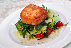 The fried goat cheese with salad Stock Photography