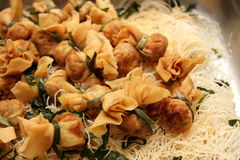 Fried golden bags on Rice noodle Crispy Royalty Free Stock Image