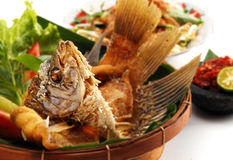 Fried gourami meal Royalty Free Stock Photo