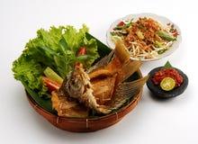 Fried gourami meal stock image