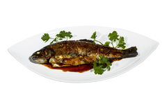 Fried Gourment Trout Royalty Free Stock Photos