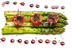 Fried green asparagus stock images