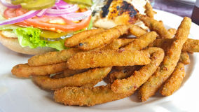 Fried Green Beans With Sandwich Royalty Free Stock Photography