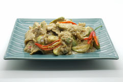 Fried green curry with pork and eggplant, thai food Stock Photography