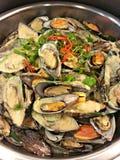 Fried Green Mussels Stockbild