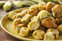 Fried Green Okra casalingo organico fotografia stock