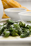 Fried green peppers. Royalty Free Stock Photo