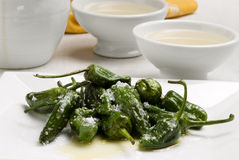 Fried green peppers. Royalty Free Stock Image