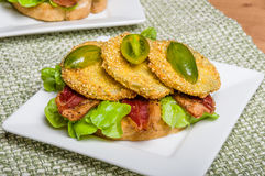 Fried green tomato sandwich ready to serve Stock Images