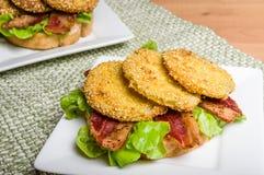 Fried green tomato sandwich ready to serve Stock Photo